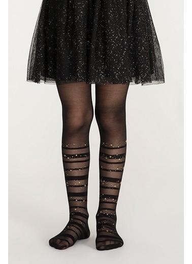 Penti Pretty Stripe Star Külotlu Çorap Siyah